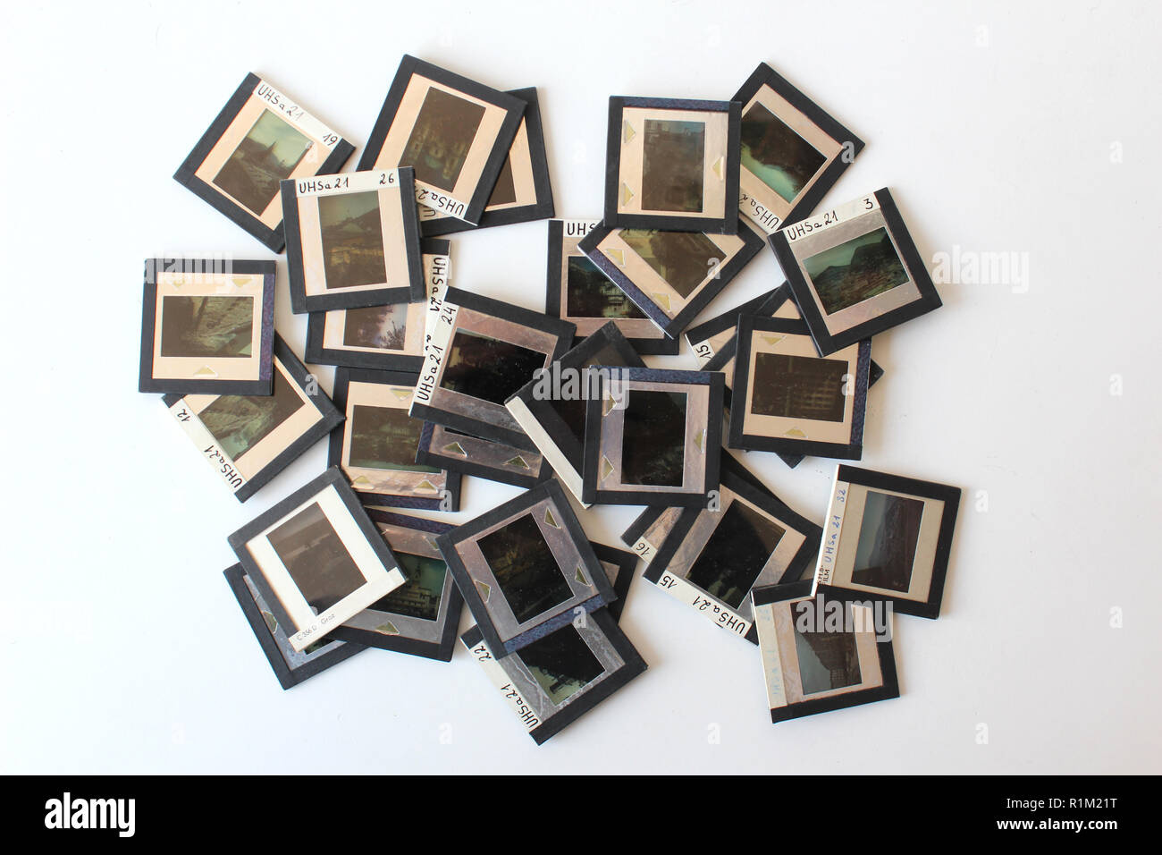 Group of 35mm slides isolated on a white background - Stock Image