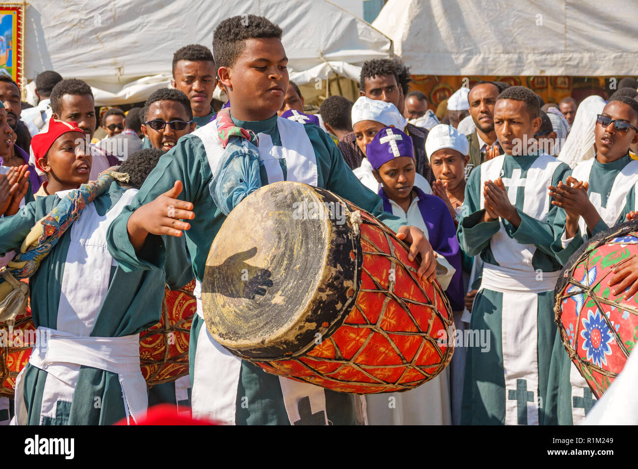 Drummer during Timkat Festival in Addis Ababa Ethiopia - Stock Image