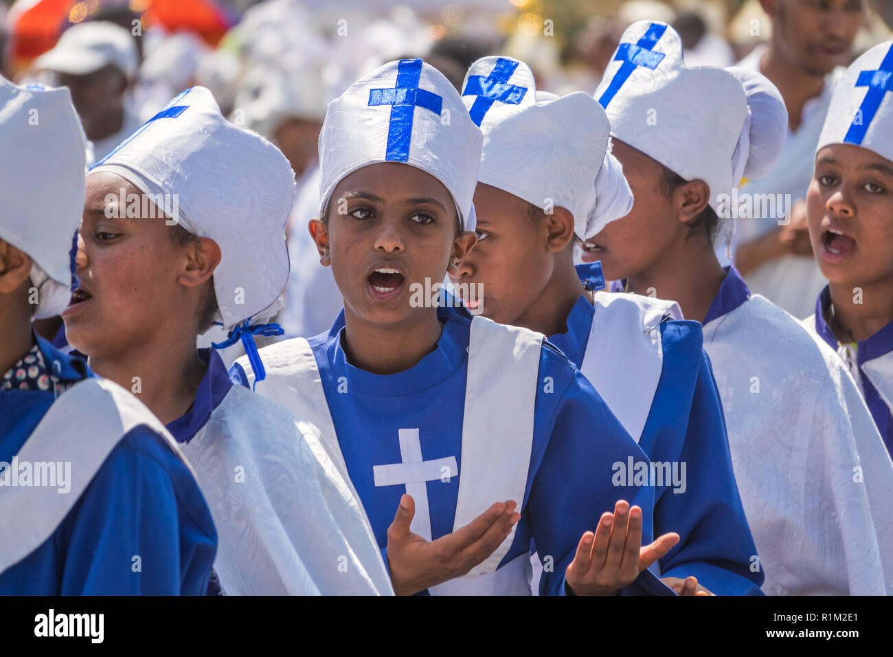 Children choir singing during Timkat Festival in Addis Ababa Ethiopia - Stock Image