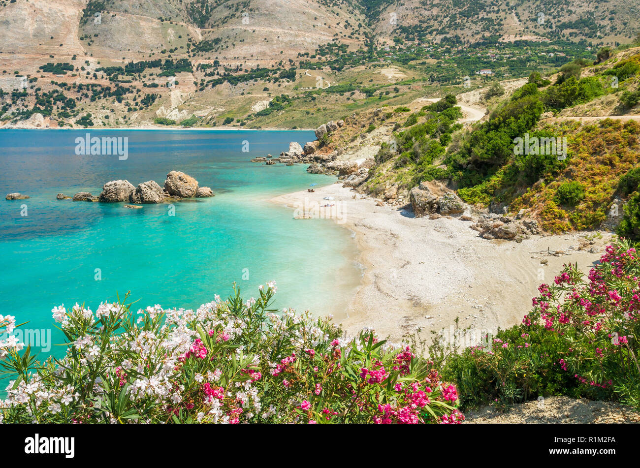 Vouti beach, Kefalonia island, Greece. People relaxing at the beach. The beach is surrounded by flowers. - Stock Image