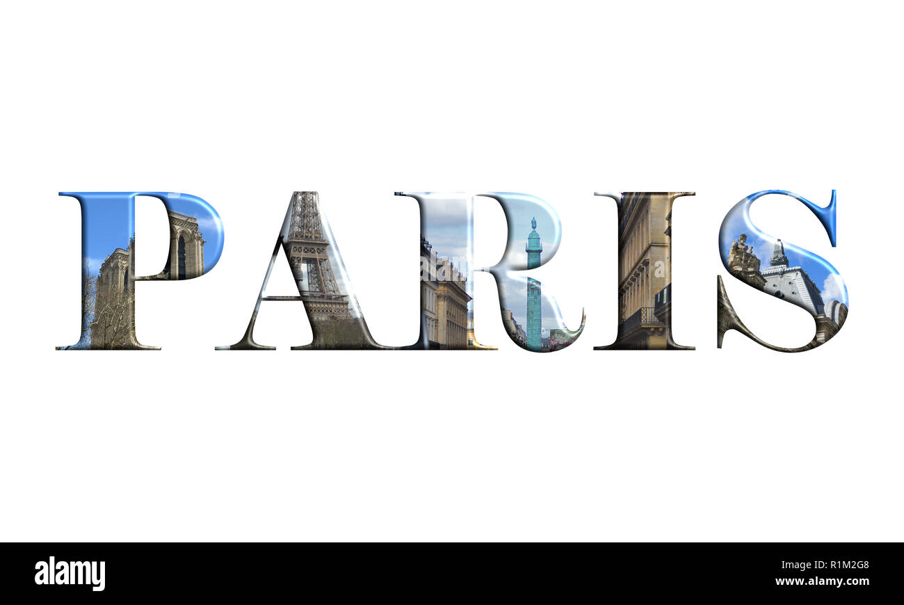 Paris letters with monuments isolated on white background - Stock Image