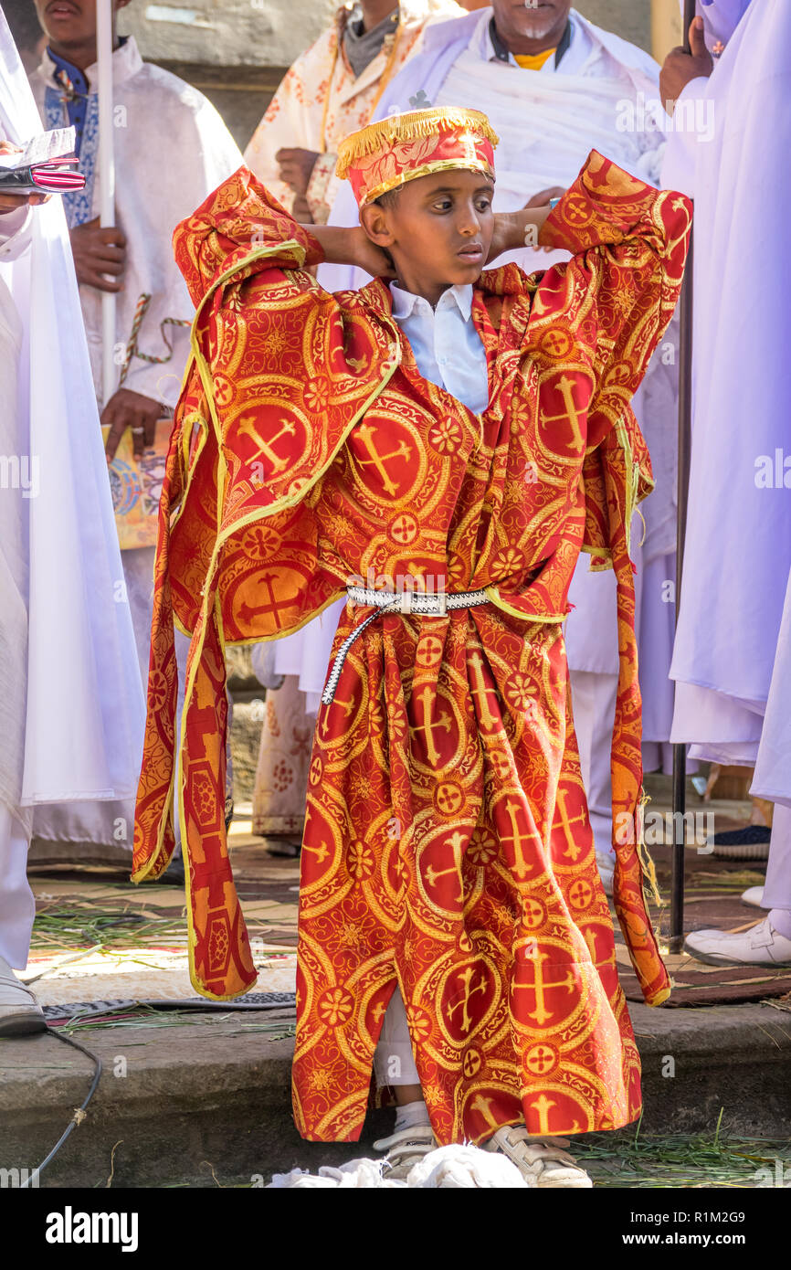 Child in ornate clothing during the Timkat Festival in Addis Ababa Ethiopia - Stock Image