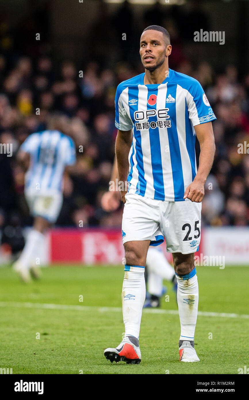 WATFORD, ENGLAND - OCTOBER 27: Mathias Jørgensen of Huddersfield Town during the Premier League match between Watford FC and Huddersfield Town at Vicarage Road on October 27, 2018 in Watford, United Kingdom. (MB Media) - Stock Image