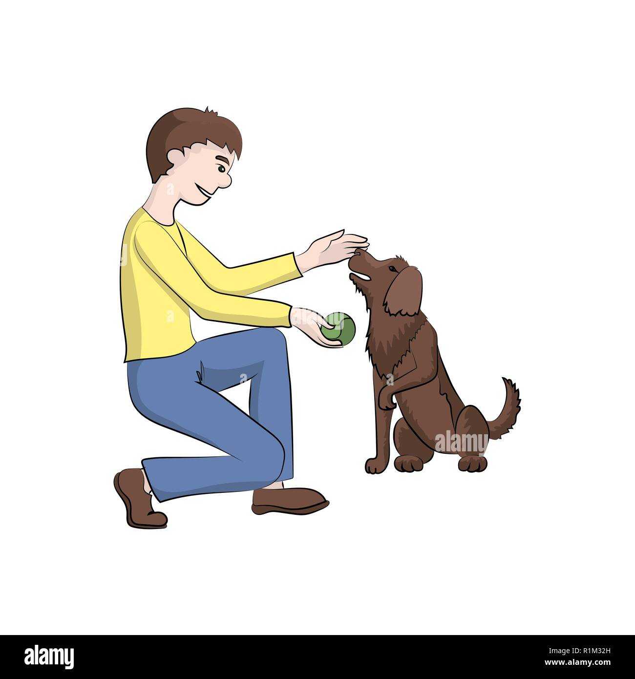The guy, boy (man) plays with the dog. Vector color illustration. - Stock Image