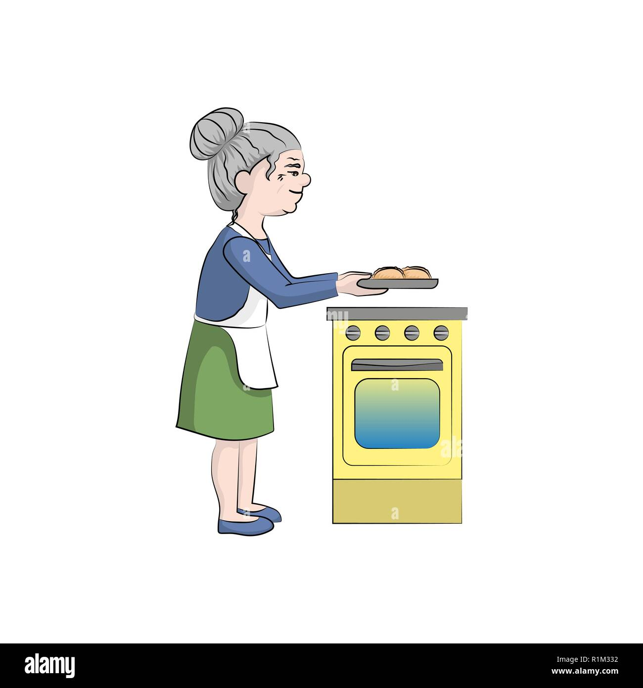 Grandmother cooks pies near the stove. Vector color illustration - Stock Vector