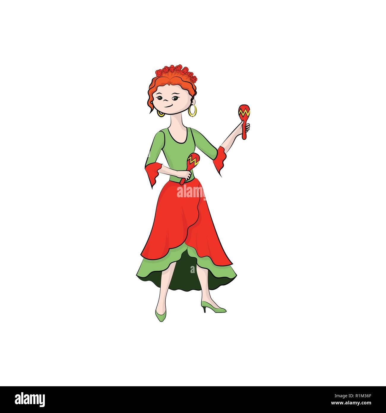 A girl (woman) plays maracas. Vector color illustration. - Stock Vector