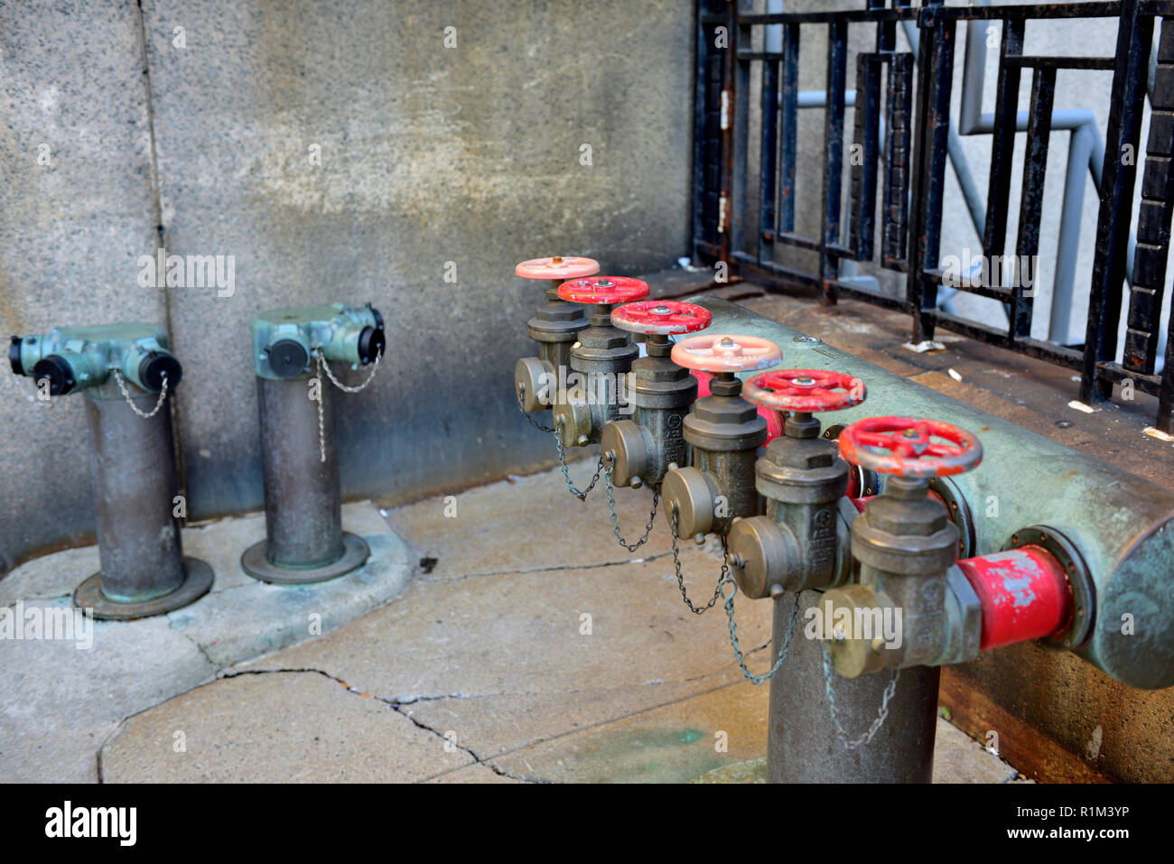 Fire hose dry risers, standpipes, in high rise building, Boston, Massachusetts - Stock Image