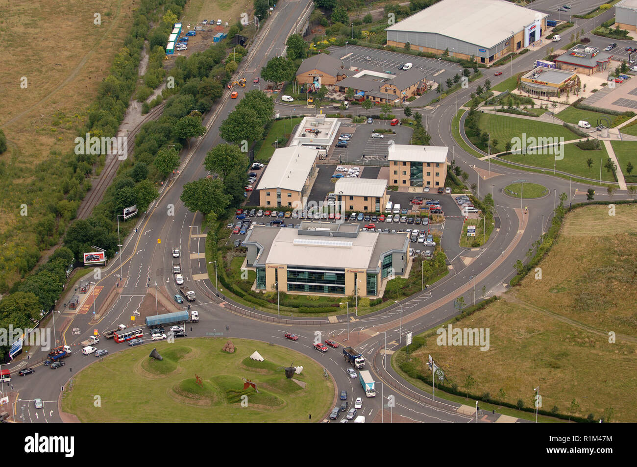 Aerial view of Rentokil Initial plc offices in Dudley, West Midlands, Uk - Stock Image