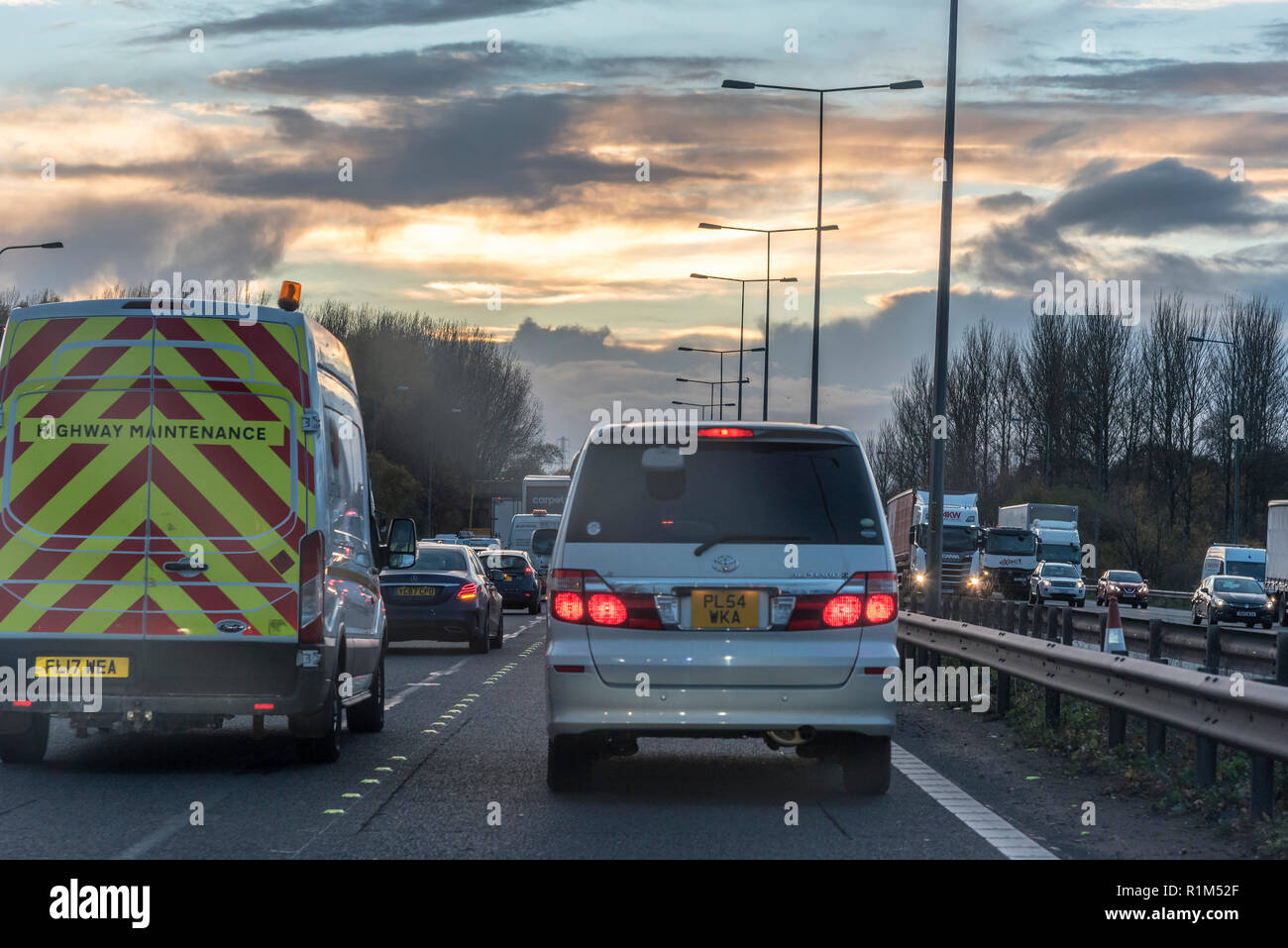 Evening traffic jam. - Stock Image