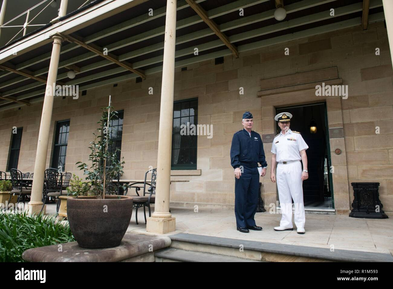 U.S. Air Force Gen. Paul J. Selva, Vice Chairman of the Joint Chiefs of Staff, meets with Australian Navy Vice Adm. David Johnston, Vice Chief of the Defence Force, at Victoria Barracks in Sydney, New South Wales, Australia; Oct. 19, 2019. Gen. Selva was in Australia to attend the Invictus Games Sydney 2018, an international adaptive sporting event with current and former U.S. wounded, ill, or injured service members. - Stock Image