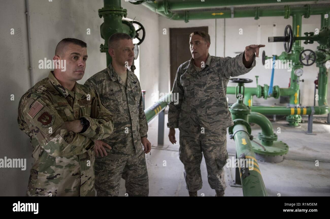 U.S. Air Force Staff Sgt. Aaron Allen, 39th Logistics Readiness Squadron fuels facilities NCOIC, briefs U.S. Air Force Col. Britt Hurst, 39th Air Base Wing commander, and U.S. Air Force Chief Master Sgt. Jason Heilman, 39th ABW command chief, on pump house schematics at Incirlik Air Base, Turkey, Oct. 11, 2018. There are nine pump houses and 47 tanks located throughout the base that the fuels specialists maintain and manage. - Stock Image