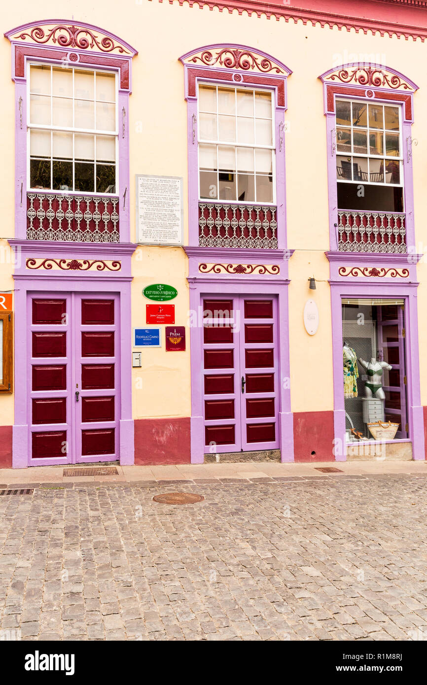 Colourful shopfronts on the Calle O' Daly, pedestrianised street in Santa Cruz de La Palma, Canary Islands, Spain, - Stock Image