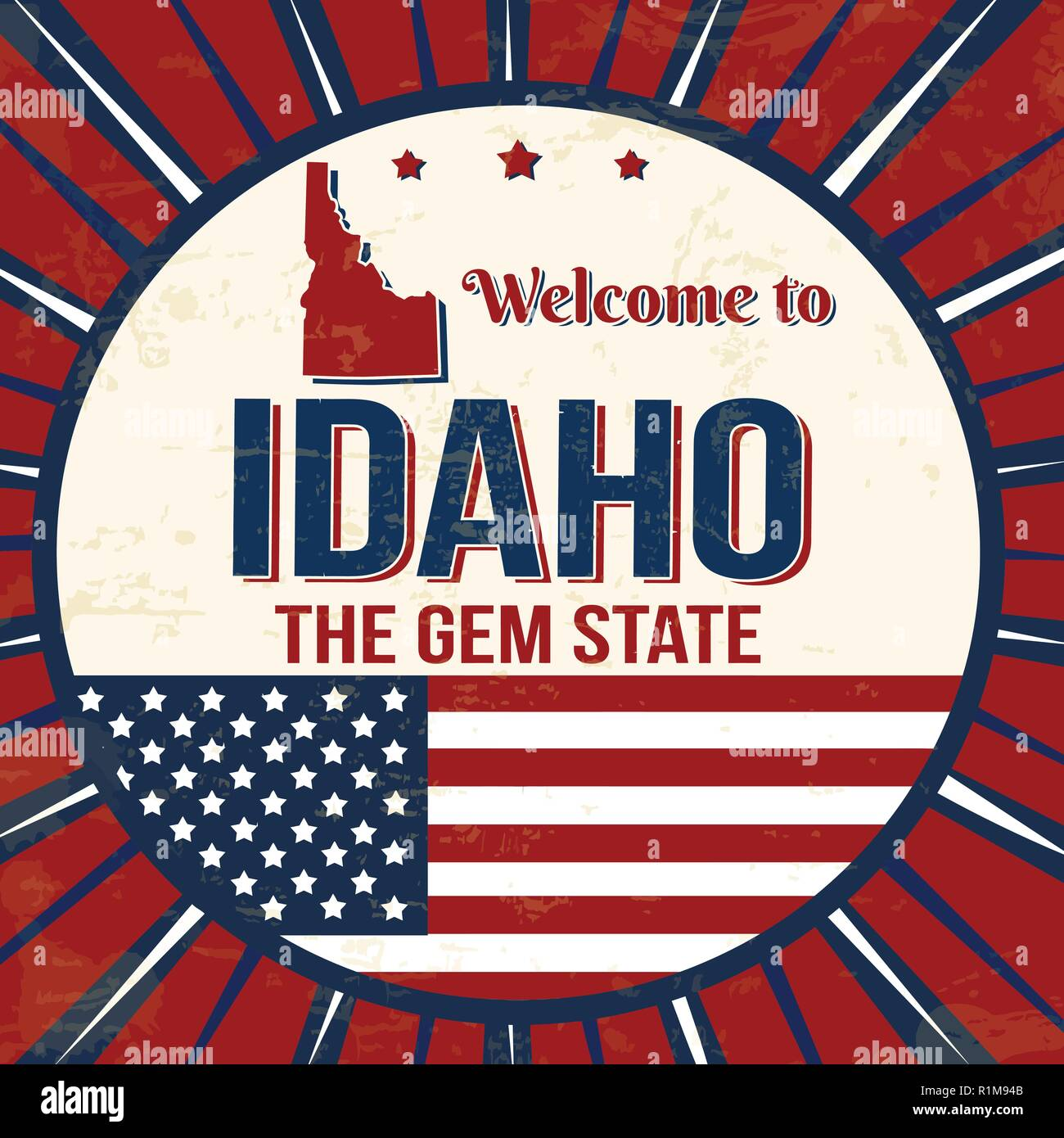 Welcome to Idaho vintage grunge poster, vector illustrator - Stock Vector