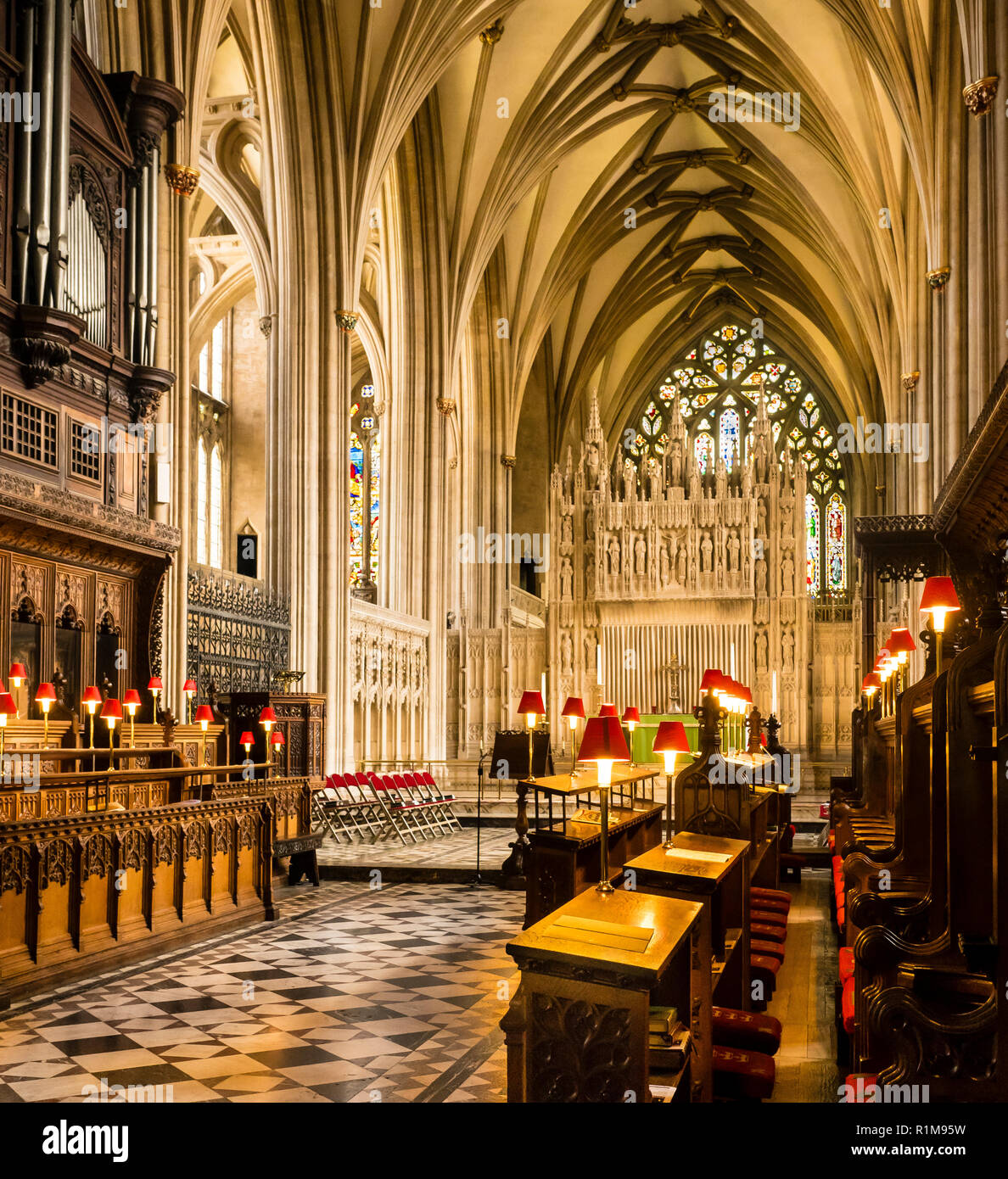 The Reredos, Alter, and Chancery of Bristol Cathedral Stock Photo