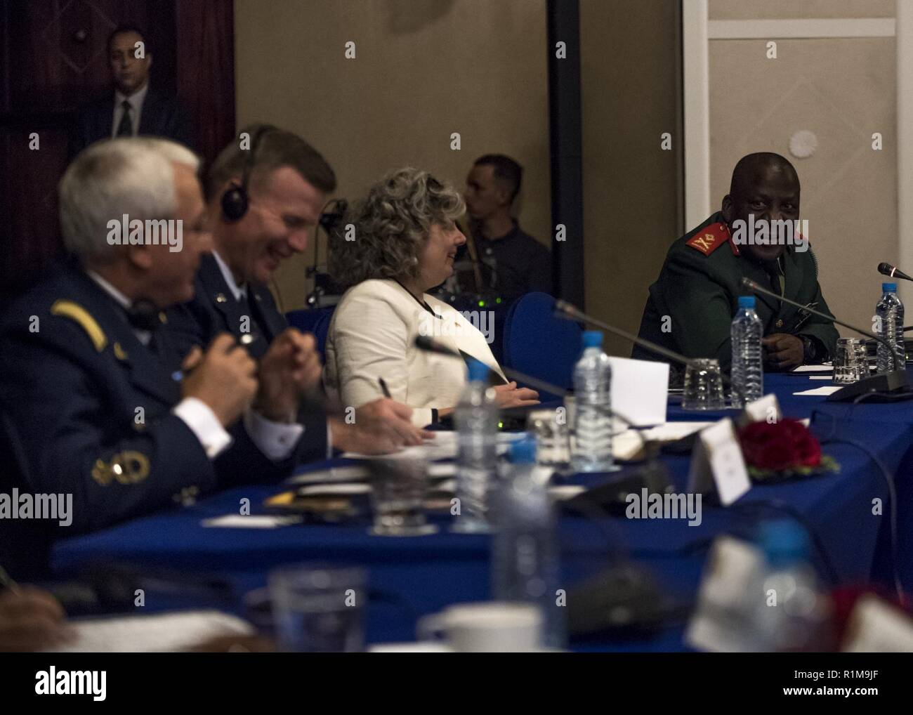 MARRAKECH, Morocco (Oct 22, 2018) Major General Seleka Phatshwane, Right, Air Arm Commander of the Botswana Defence Force, addresses a room of senior African and U.S. officials, including Chargé d'Affaires Stephanie Miley, at the 8th annual African Air Chiefs Symposium. The purpose of the symposium is to create a forum for air chiefs from across the African continent to come together to address regional and continental issues, enhance relationships and increase cooperation. - Stock Image