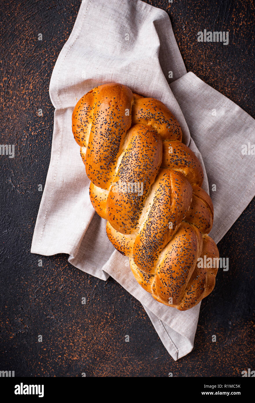 Sweet bread with poppy seeds - Stock Image