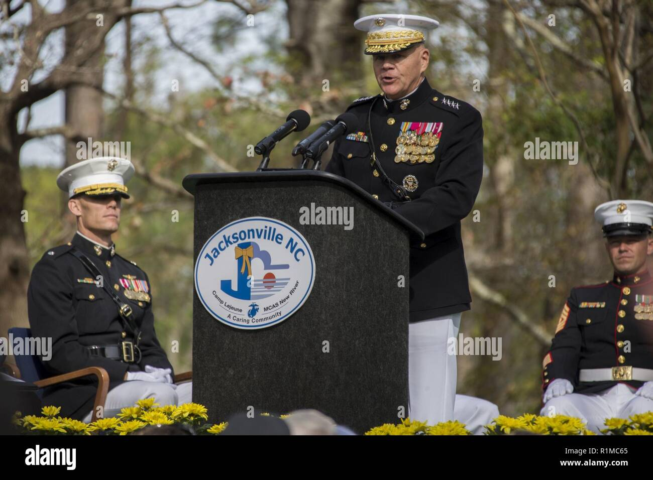 U.S. Marine Corps Gen. Robert B. Neller, 37th Commandant of the Marine Corps, gives his remarks during the 35th Beirut Memorial Observance Ceremony at the Lejeune Memorial Gardens in Jacksonville, N.C., Oct. 23, 2018. A memorial observance is held on Oct. 23 of each year to remember those lives lost during the terrorist attacks at U.S. Marine Barracks, Beirut, Lebanon and Grenada. Stock Photo