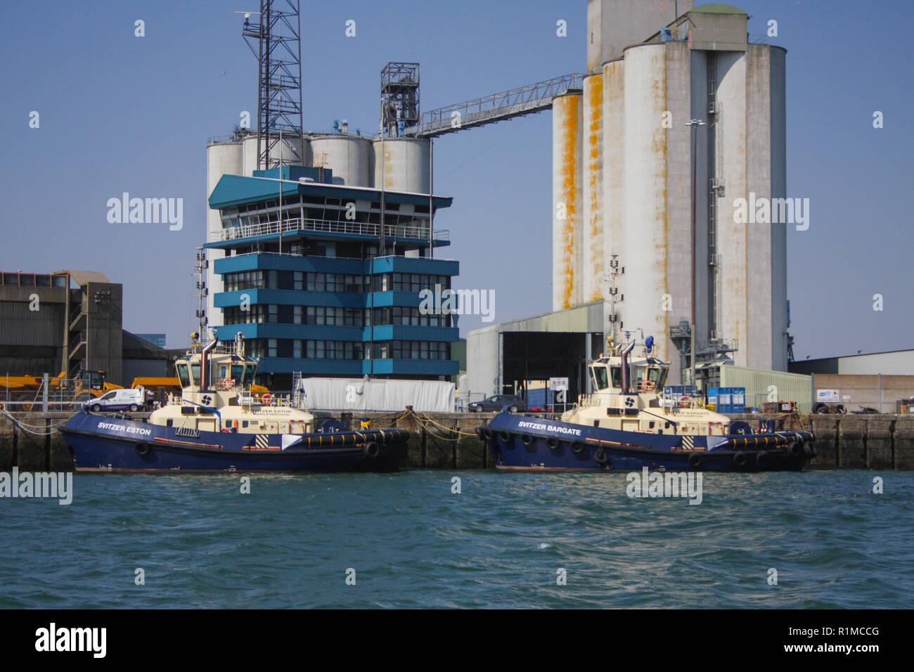 Passing the Port Control Centre on the little Hythe Ferry into Southampton - Stock Image