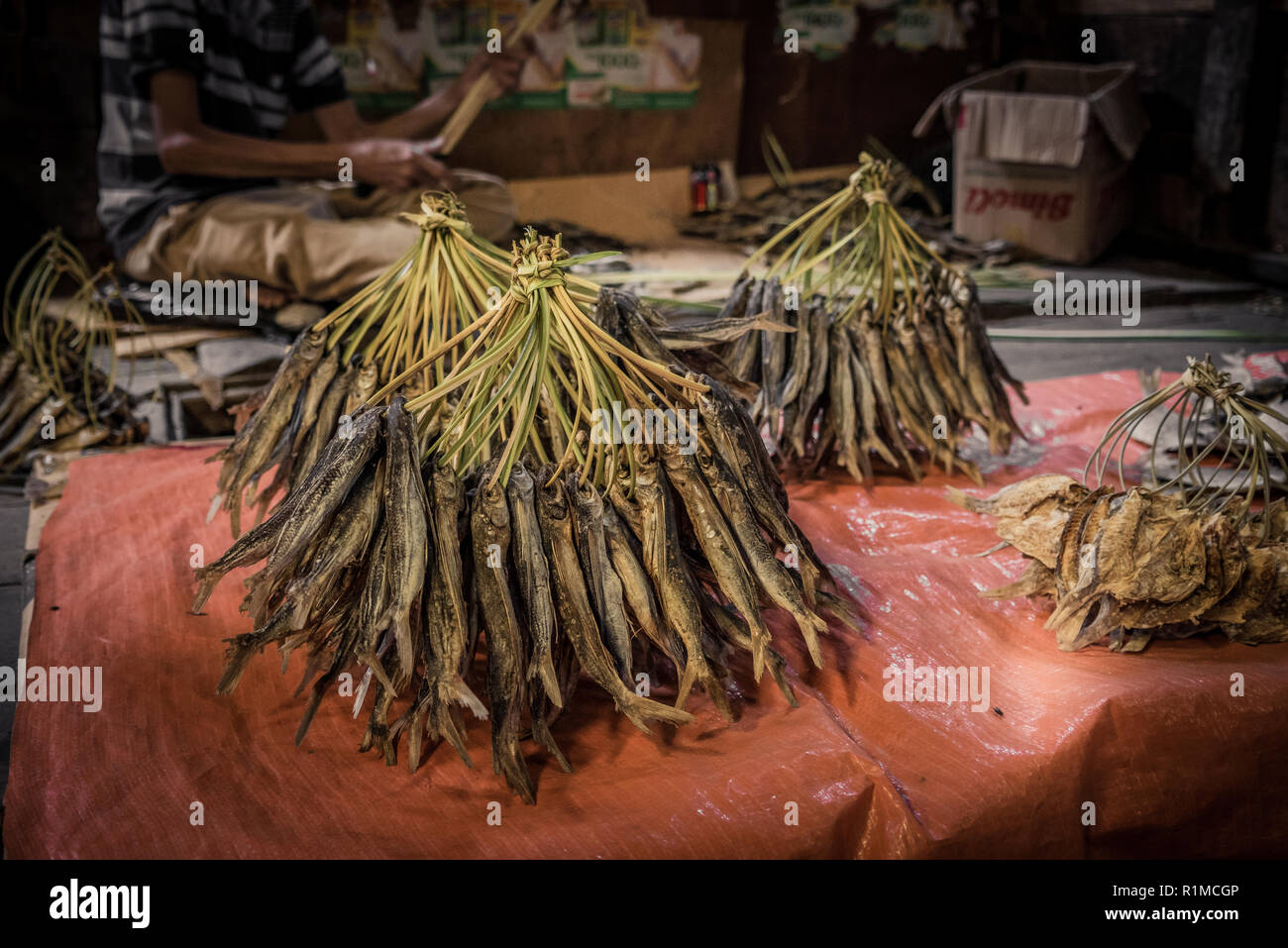 Dried fish at the market in Ruteng, Indonesia on the island of Flores - Stock Image