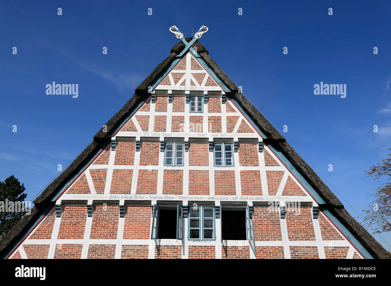 Old Farmhouse at Este-dike, Jork-Koenigreich, Altes Land, Lower Saxony, Germany, Europe - Stock Image