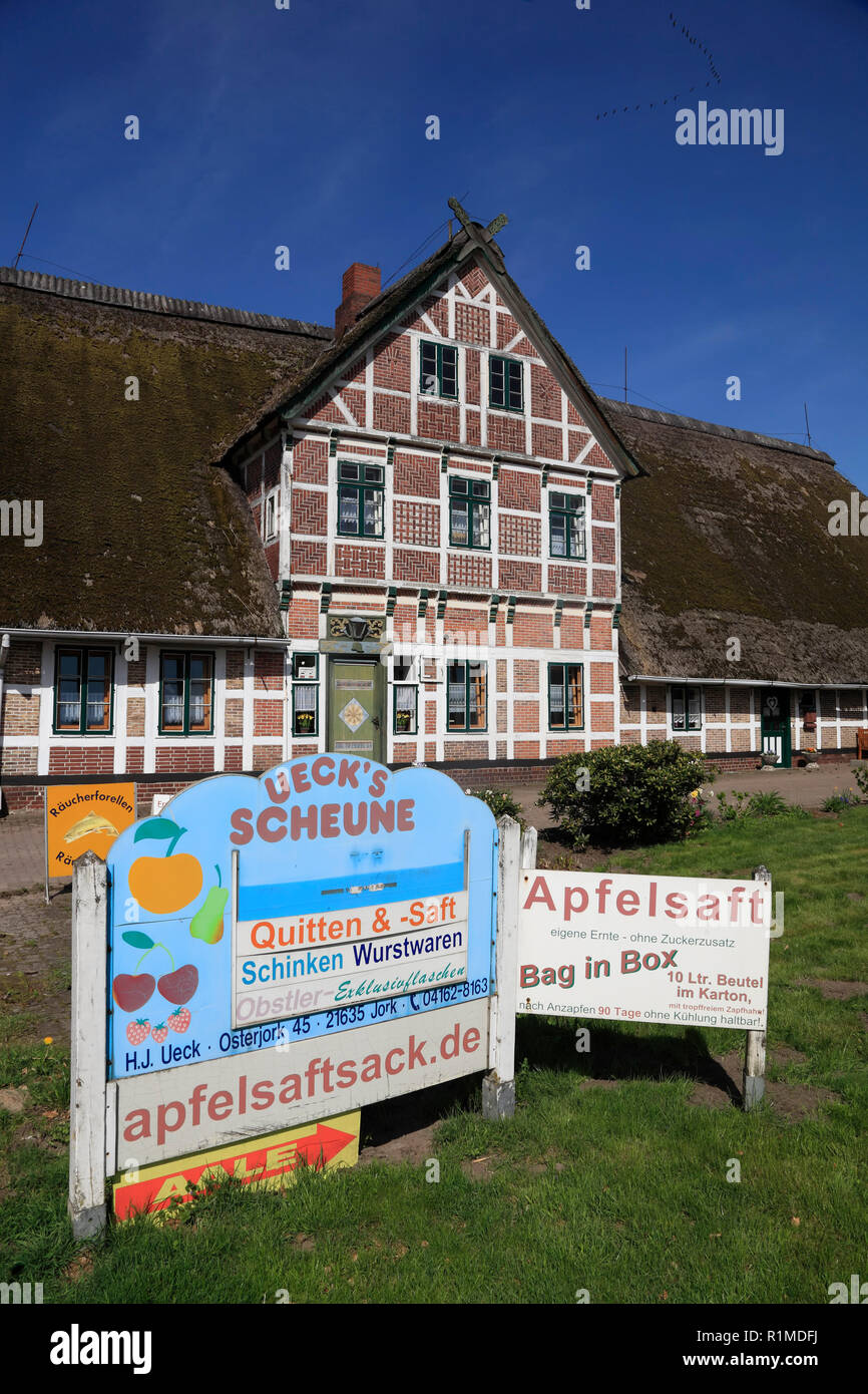 Old fruit farmhouse, Altes Land, Lower Saxony, Germany, Europe - Stock Image