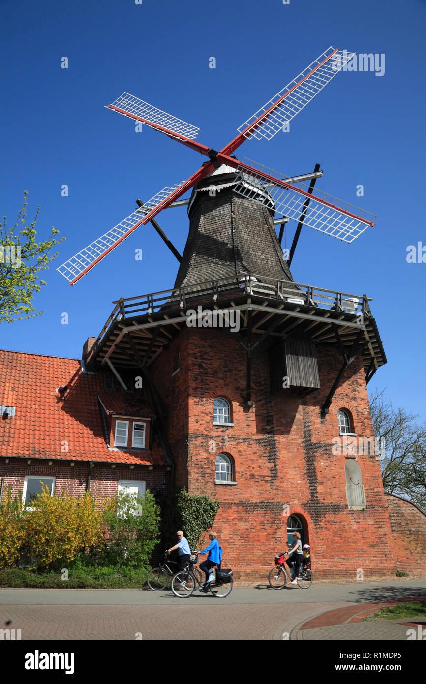 windmill AURORA in Borstel, Altes Land, Lower Saxony, Germany, Europe - Stock Image