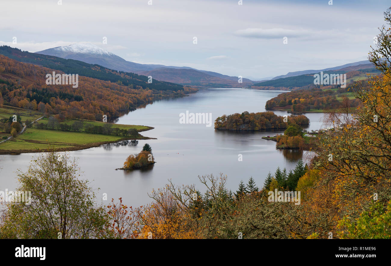 View of Loch Tummel from The Queen's View during autumn in Perthshire, Scotland, UK - Stock Image