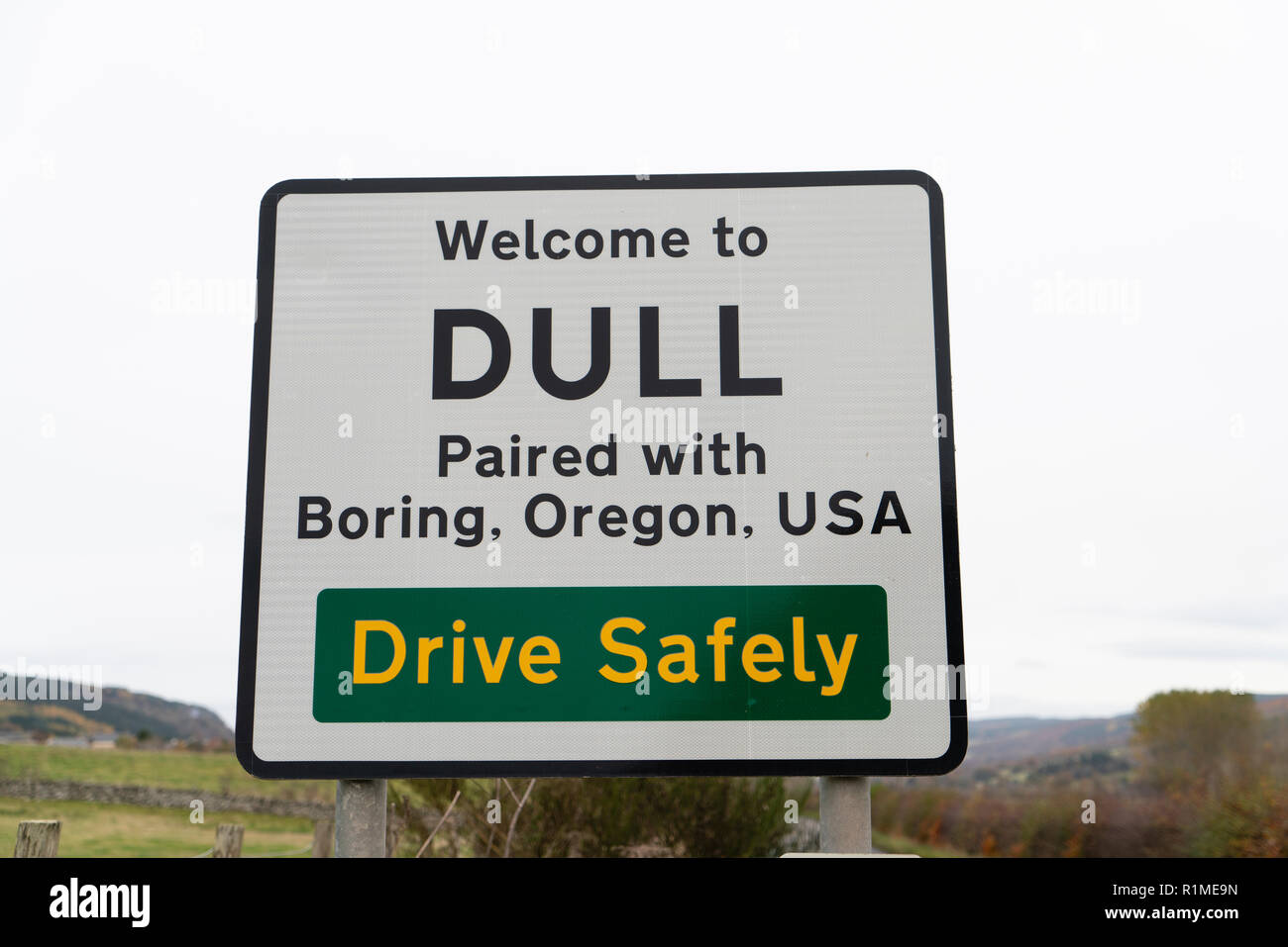 Road sign at Scottish village called Dull near Aberfeldy in Perthshire, Scotland , UK - Stock Image