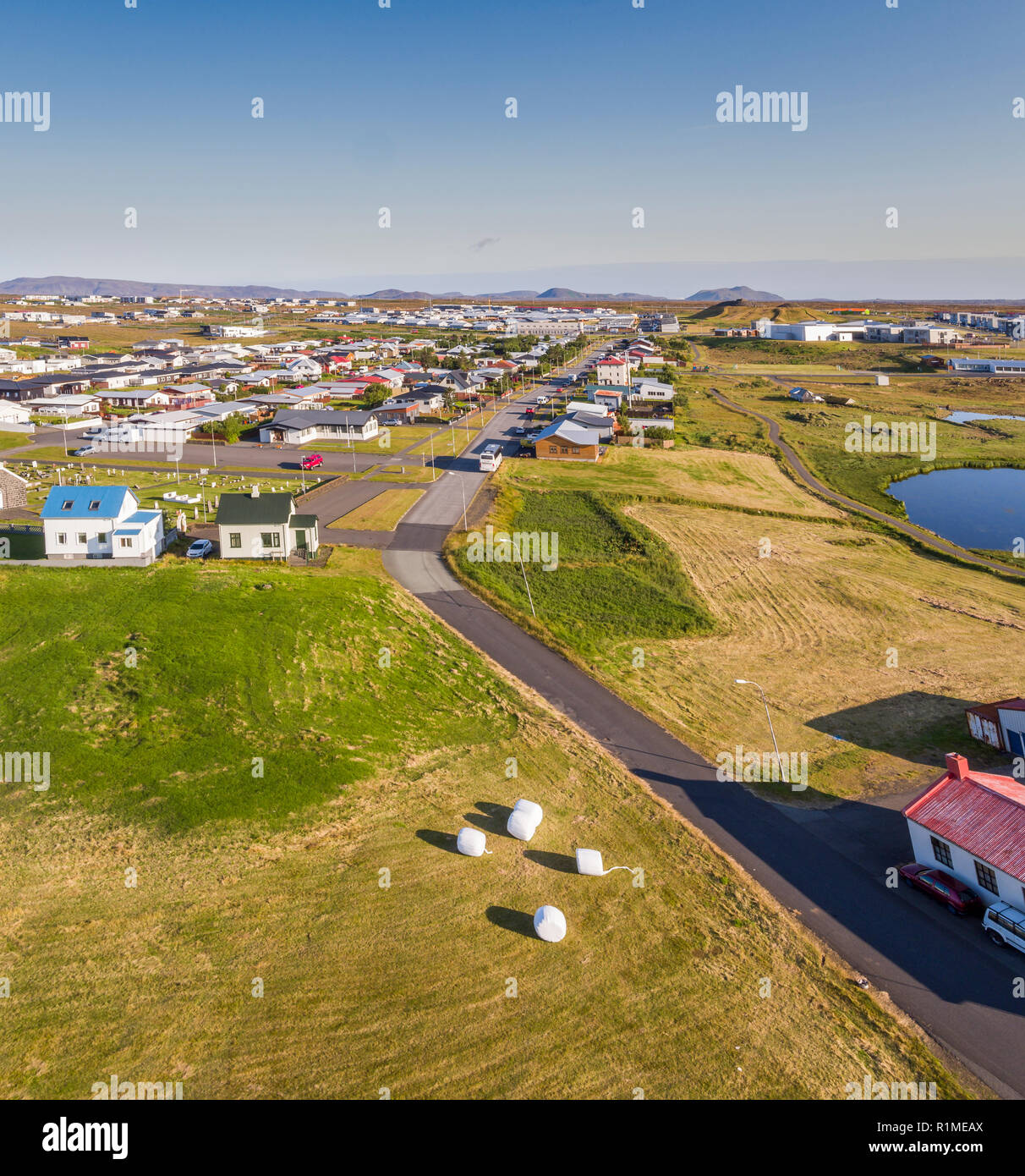 Innri Njadvik, Reykjanes Penisula, Iceland. This image is shot using a drone. - Stock Image