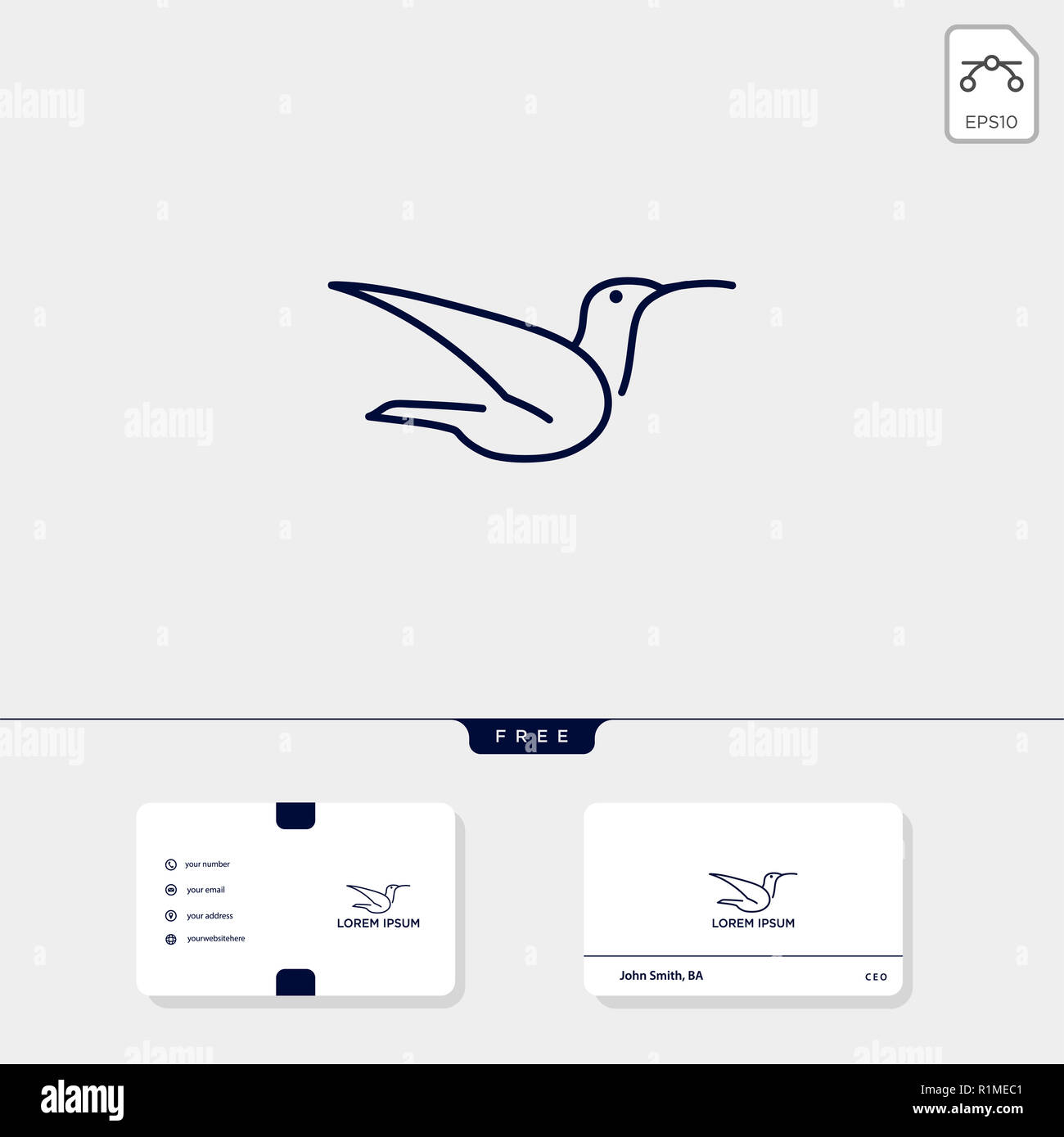 flying bird line art logo template and business card include free