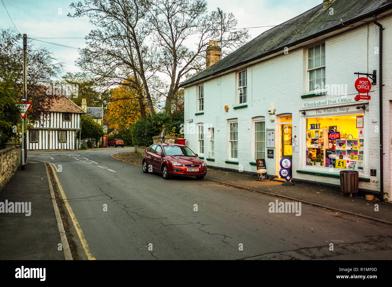 Whittlesford Cambridgeshire - the centre of the Cambs village of Whittlesford nr Cambridge. Shop & Post Office, C16th Guildhall in the background. - Stock Image