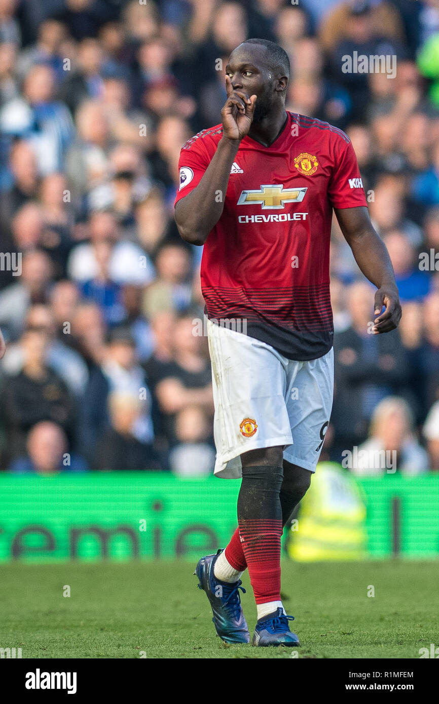 LONDON, ENGLAND - OCTOBER 20: Romelu Lukaku of Manchester United during during the Premier League match between Chelsea FC and Manchester United at Stamford Bridge on October 20, 2018 in London, United Kingdom. (Photo by Sebastian Frej/MB Media/Getty Images) - Stock Image