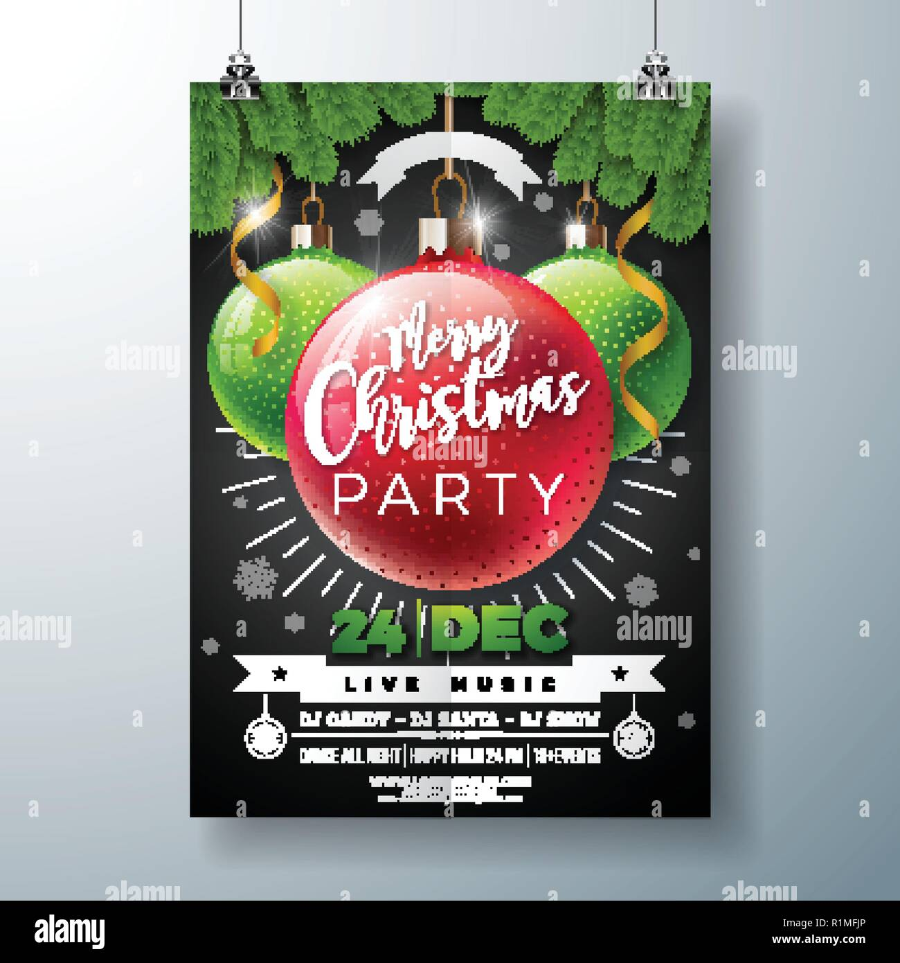 Christmas Party Flyer.Christmas Party Flyer Illustration With Shiny Glass Ball And
