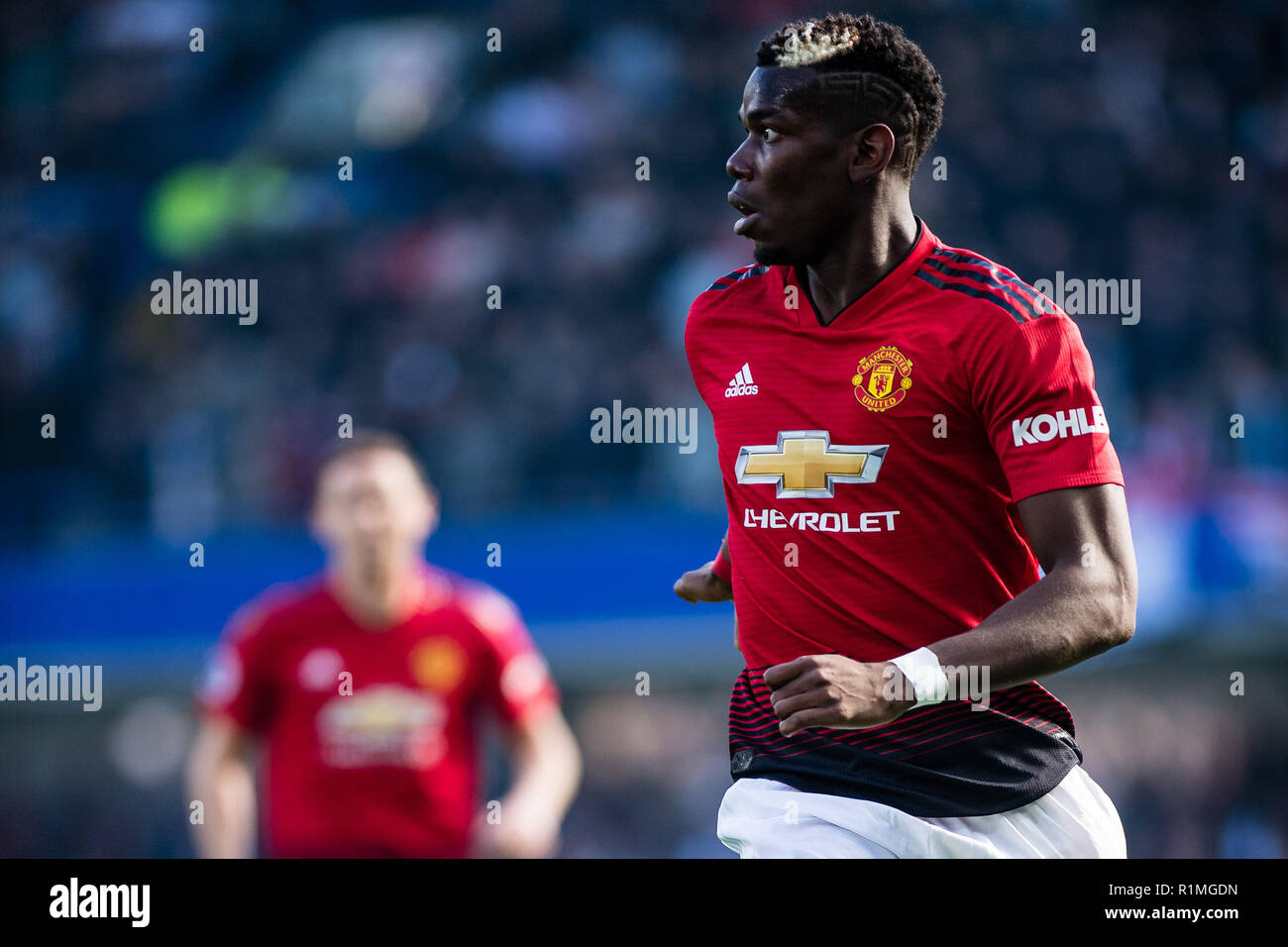 LONDON, ENGLAND - OCTOBER 20: Paul Pogba of Manchester United looks on during the Premier League match between Chelsea FC and Manchester United at Stamford Bridge on October 20, 2018 in London, United Kingdom. (Photo by Sebastian Frej/MB Media/Getty Images) Stock Photo
