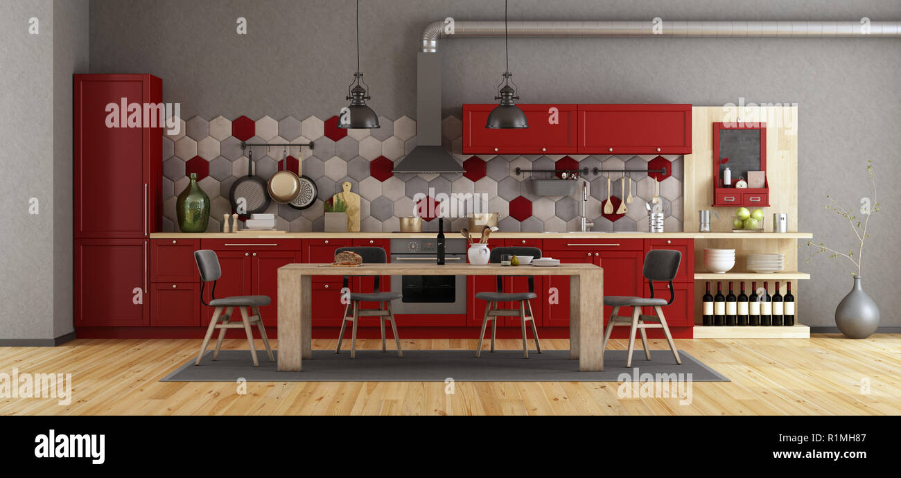 Retro red kitchen with wooden dining table and chairs   9d ...