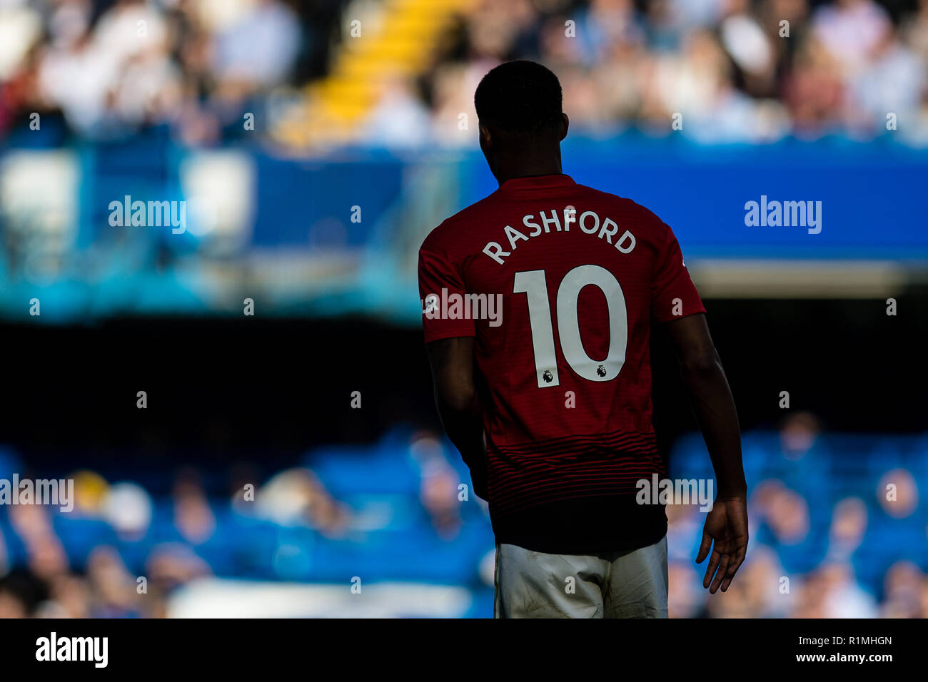 LONDON, ENGLAND - OCTOBER 20: Marcus Rashford during the Premier League match between Chelsea FC and Manchester United at Stamford Bridge on October 20, 2018 in London, United Kingdom. (Photo by Sebastian Frej/MB Media/Getty Images) - Stock Image