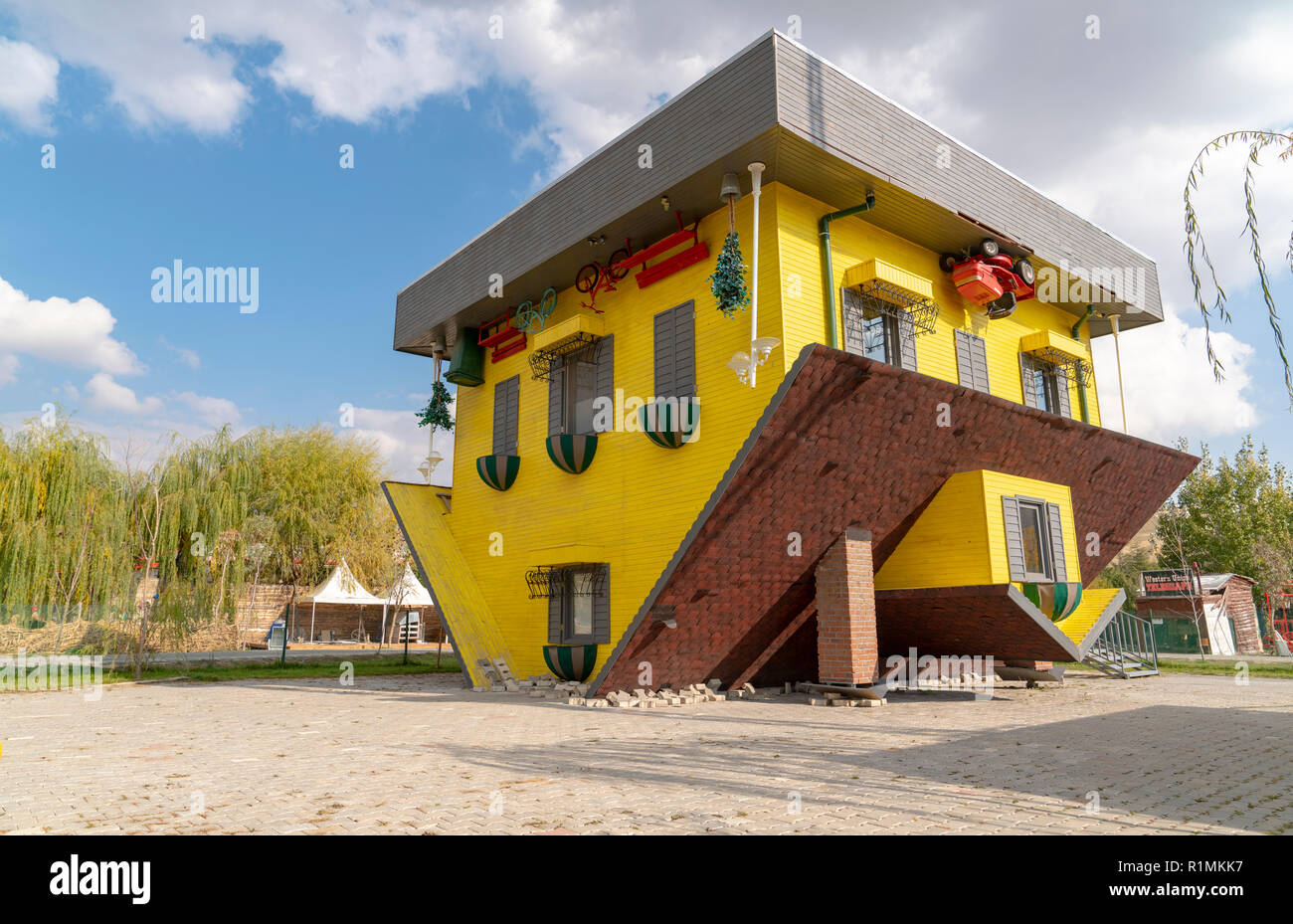 Ankara/Turkey - November 10 2018: Upside down house called tepetaklak ev in Turkish - Stock Image