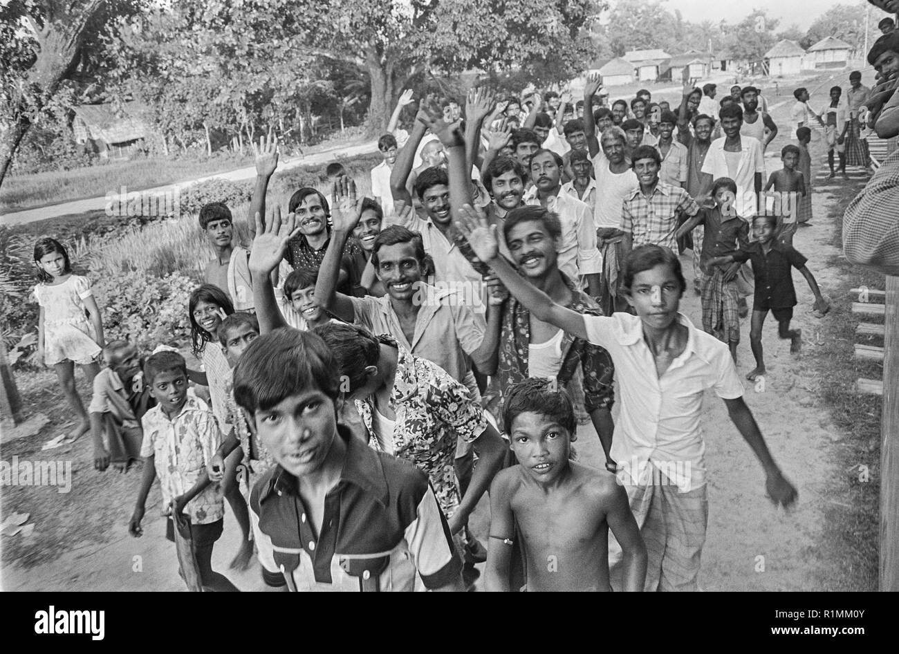 74/20  Send-off from Shabiganj railway station 1980 - Stock Image