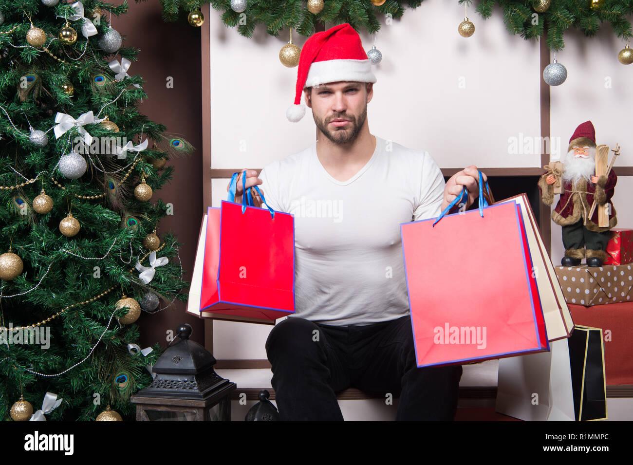 Christmas Shopping Winter Sale Card Man Box Gift Stock Photos ...