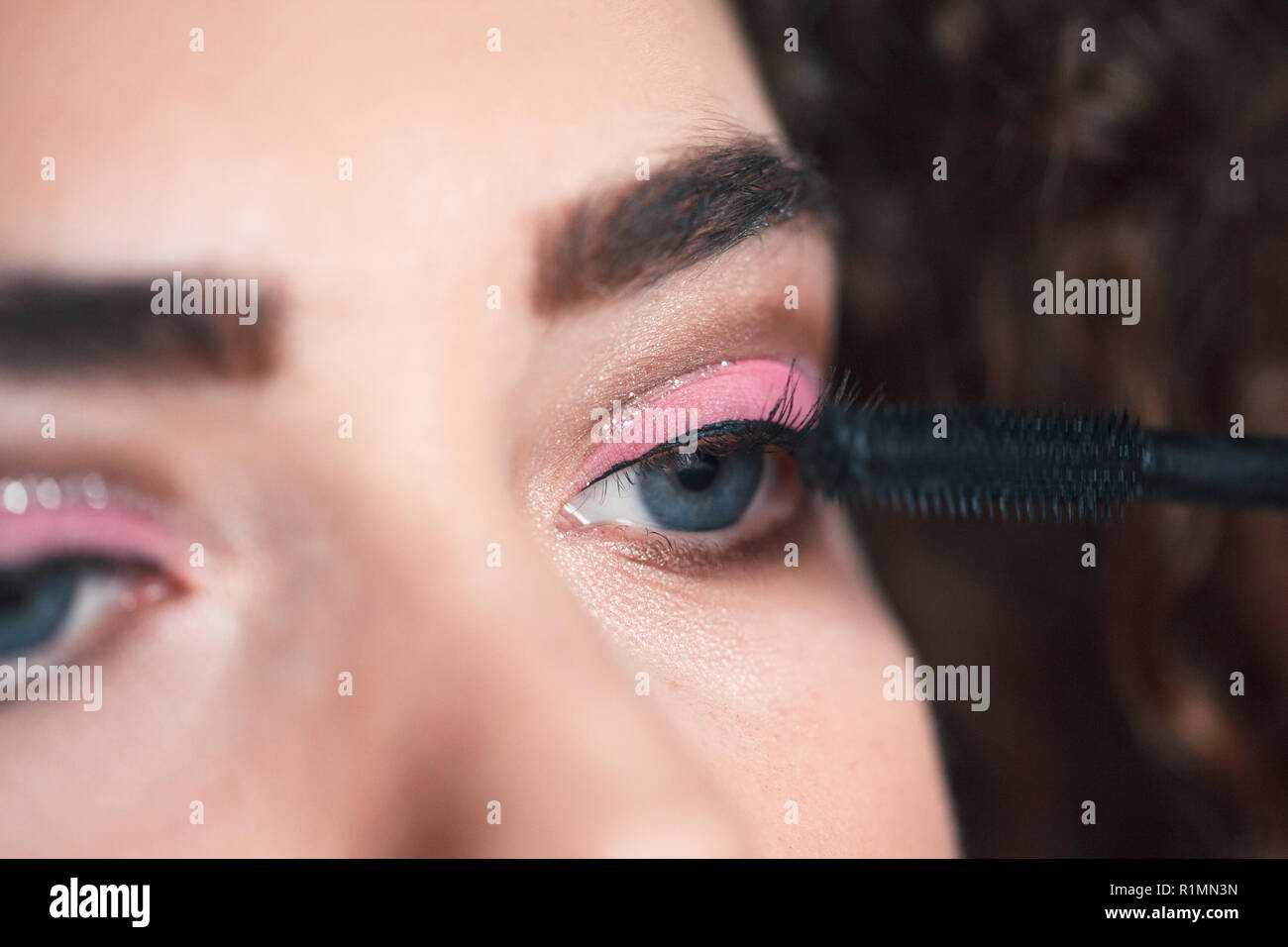 Closeup Of Makeup Artist Applying Smokey Eyes Makeup Beauty And