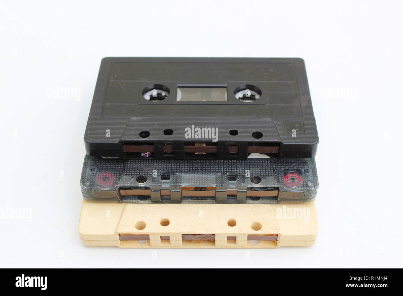 Three stacked cassette tapes - Stock Image