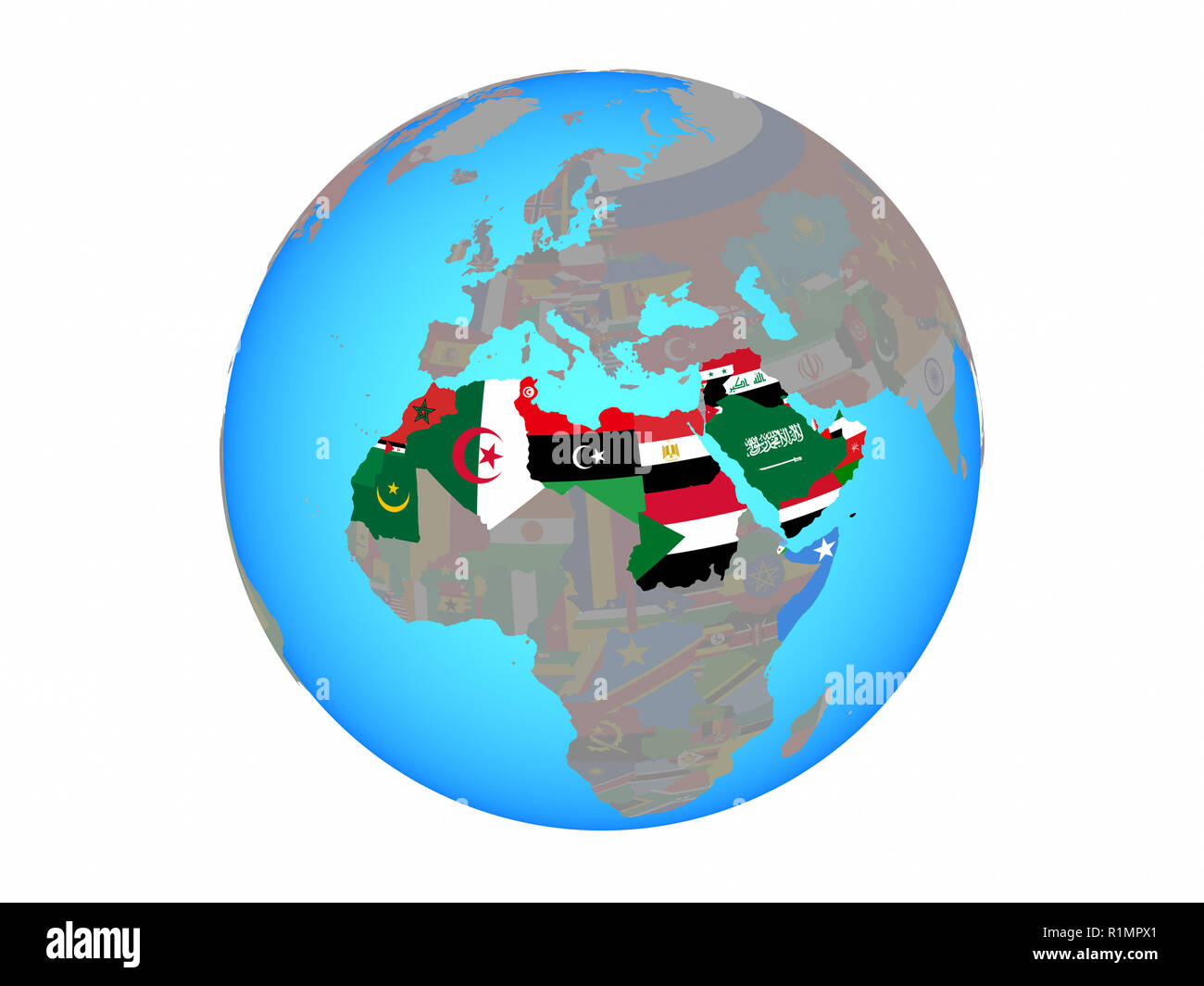Picture of: Arab League With National Flags On Blue Political Globe 3d Illustration Isolated On White Background Stock Photo Alamy