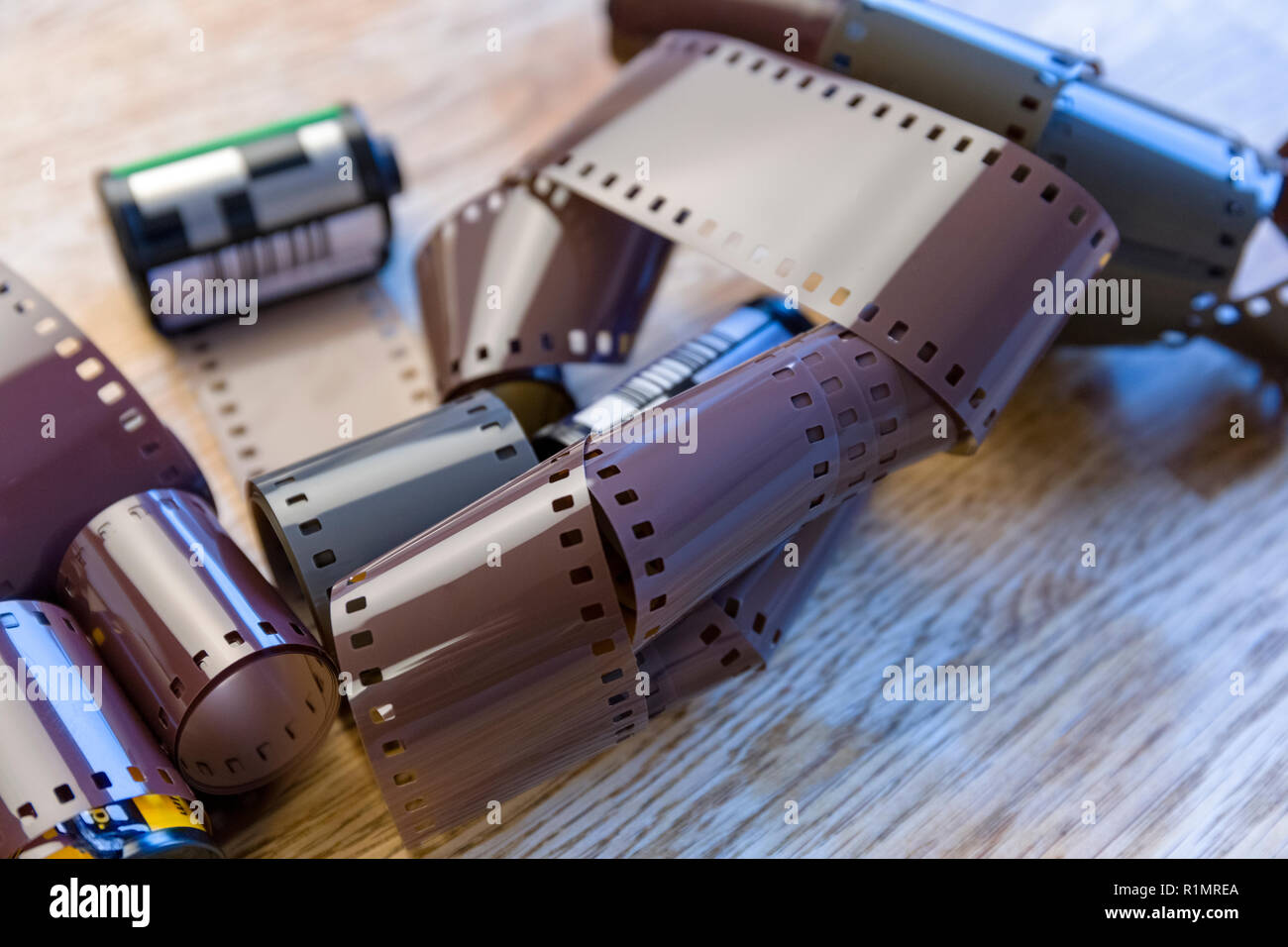 Close up view of lots of 35mm analogue film - Stock Image
