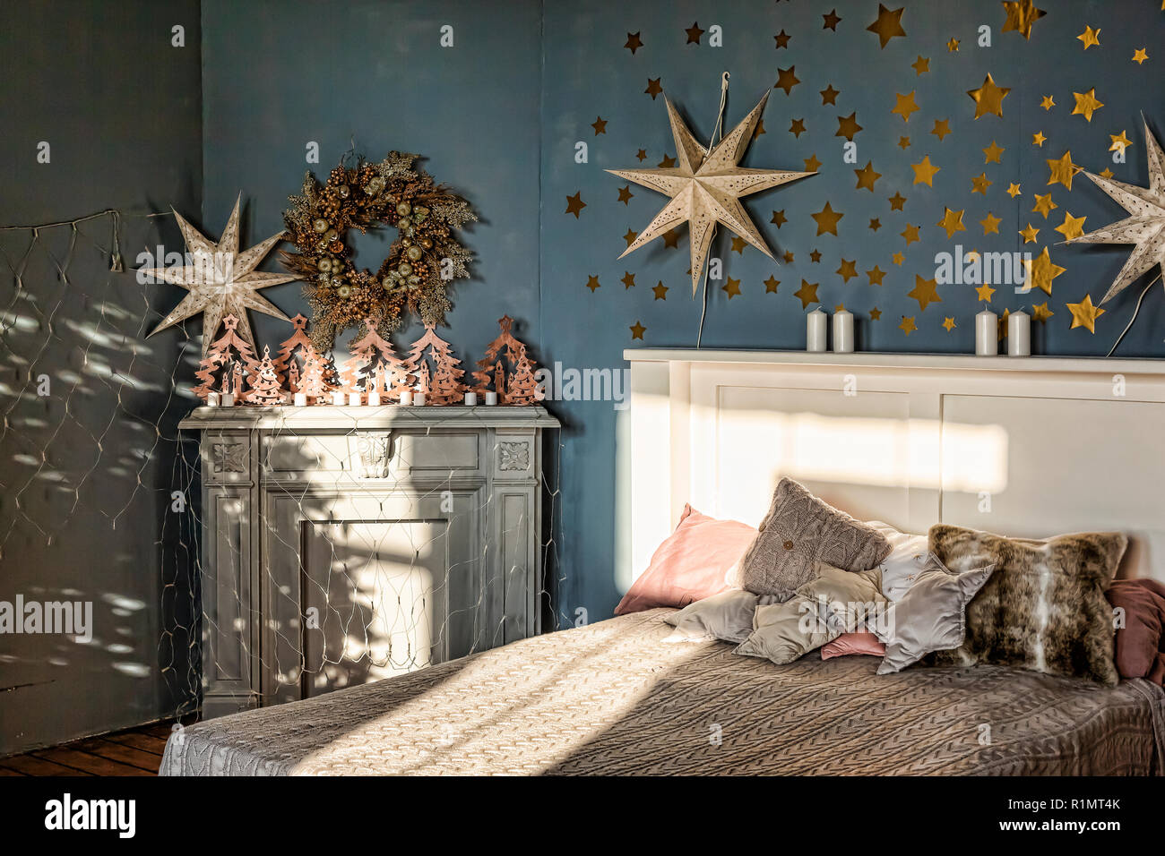 Christmas, New Year, Family Holiday Concept. Bedroom ...