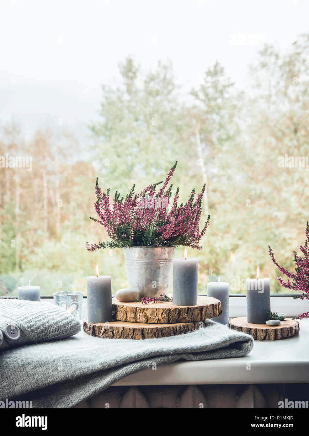 Ready For Autumn Common Heather Flower In Zinc Pot Home Decor Idea