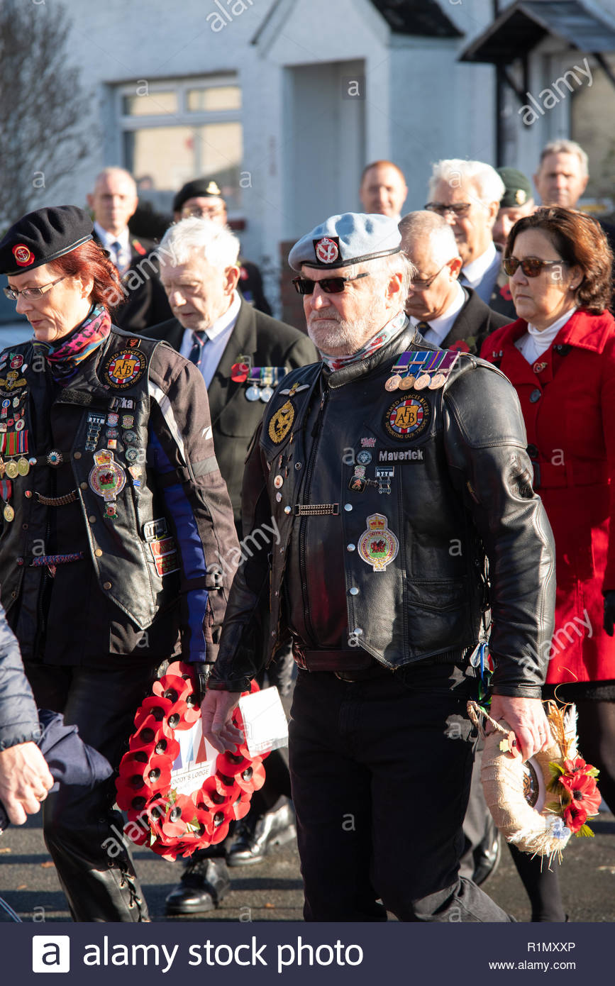 An image of an AFB Armed Forces Bikers membes paying respect to the fallen on Remembrance Day 2018 - Stock Image