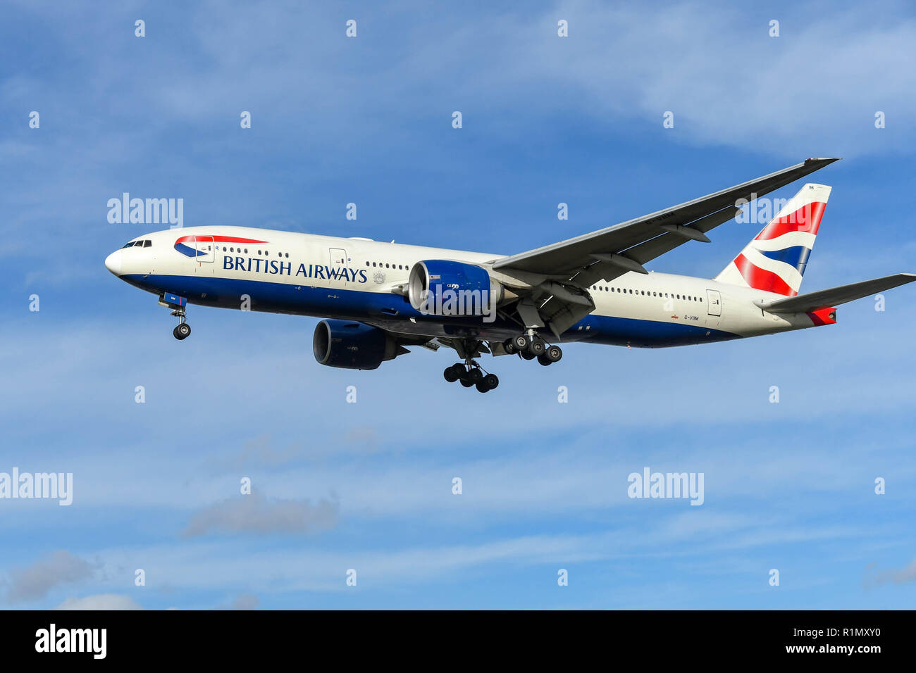 LONDON, ENGLAND - NOVEMBER 2018: British Airways Boeing 777 long haul airliner on final approach to land at London Heathrow Airport. - Stock Image