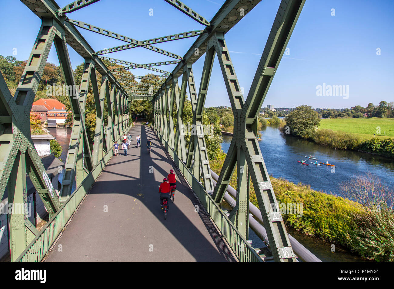 Ruhrtalradweg, Ruhr Valley Cycle Path, former railway bridge over the Ruhr, in Essen, cycle and pedestrian path,Germany - Stock Image