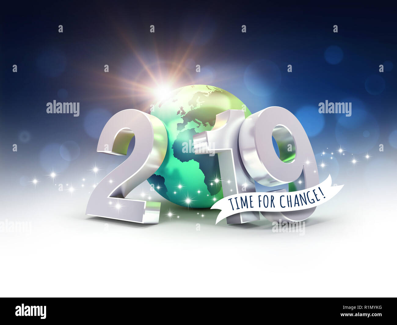 Ecological greeting card - 2019 New Year date number composed with a green planet earth, focused on Europe and Africa, sun shining behind - 3D illustr - Stock Image