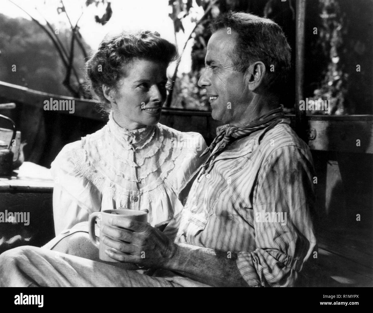 The African Queen is a 1951 British-American adventure film adapted from the 1935 novel of ... Samuel Sayer (Robert Morley) and his sister Rose (Katharine Hepburn Hollywood Photo Archive / MediaPunch - Stock Image